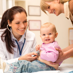 Pediatrician examine baby with stethoscope