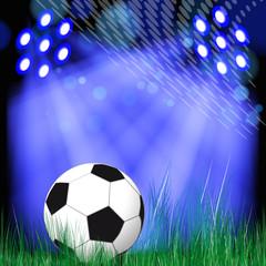 Soccer Ball background. Soccer ball in the green grass.