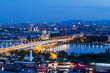 canvas print picture - Wien, Panorama am Abend
