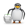 3d Penguin in glasses goes shopping