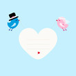 Wedding Birds Flying Holding Heart Frame Blue