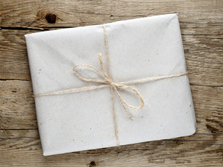 Package on wooden background