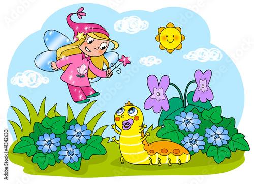 Fata con baby bruco. Illustrazione digitale per bambini