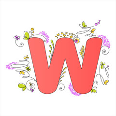 Colorful floral alphabet. Letter W