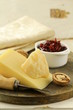 cheese platter with nuts and jam