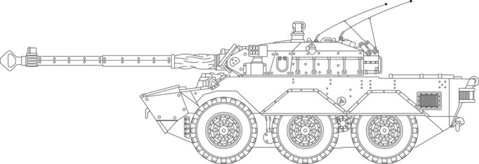 High detailed vector of a modern tank - side view