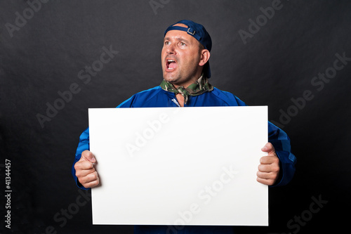 Worker with sign