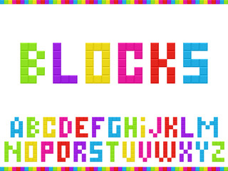 Multicolored blocks alphabet. Vector illustration.