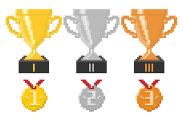 Pixel trophy cups and medals. Vector illustration.