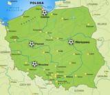 Fussballkarte von Polen mit Nachbarländern