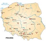 Fototapety Landkarte von Polen mit Hauptstädten