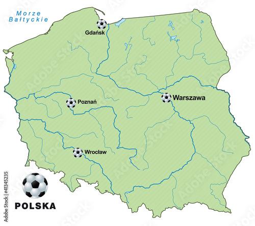 Fussballkarte von Polen als Infografik