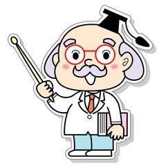 指し棒で指示する博士