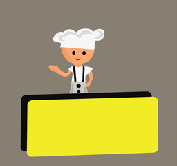 Vector - Chef and empty blank.