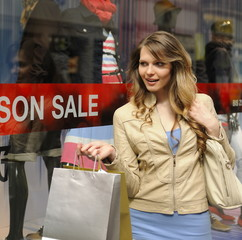 Sale: Young woman shopping