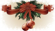 christmas background with baubles and christmas tree branch