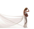 A young blond pregnant woman in white bride clothes