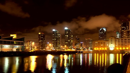 Night San Diego city time lapse with buildings and traffic