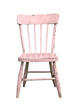 vintage pink child's chair on a white background