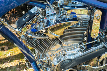 highly reflective chromed powerful motorcycle engine