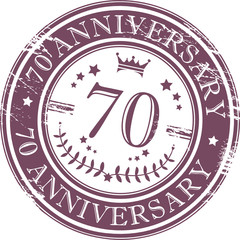 Stamp 70 anniversary, vector illustration