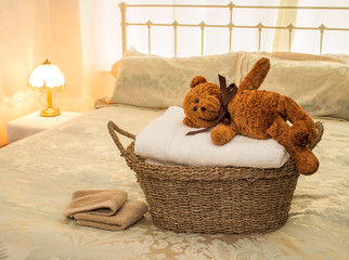 Laundry Basket with Teddy Bear