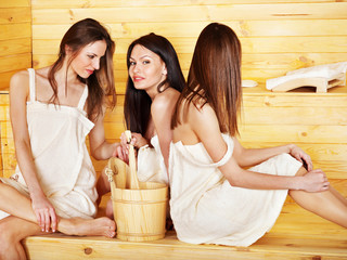 Friend relaxing in sauna.