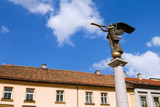 Statue of an angel at Uzupio, an artistic district in Vilnius, L poster