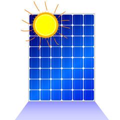 solar panel with sun vector illustration