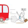 Geschäftsmann, rennend, Verspätung, Bus verpasst