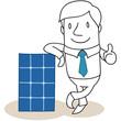 Geschäftsmann, Solarzellen, Daumen hoch