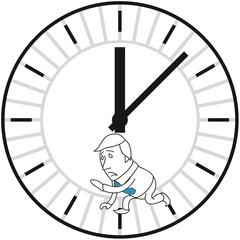 Geschäftsmann, Uhr, Hamsterrad, Lange Arbeitszeiten