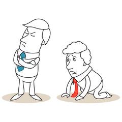 Geschäftsleute, beleidigt, sich entschuldigend