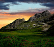 sunset over the mountain Brenta-Dolomites Italy