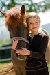 canvas print picture - Horse and lovely girl - best friends