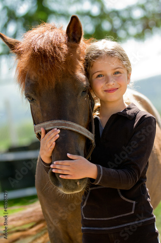 canvas print picture Horse and lovely girl - best friends
