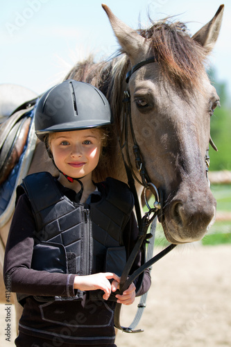 Leinwandbild Motiv Horse and lovely girl - best friends