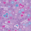 Seamless Birthday Pattern Doodle Sketchy Hearts and Stars