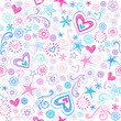 Sketchy Heart Doodles Pattern Seamless Vector