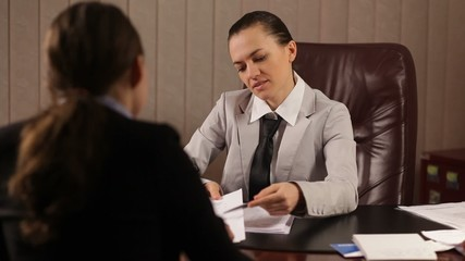 Female boss communicate bad news