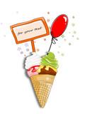 Eis, Eiscreme mit Ballon und Textfeld