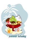 Eis, Eisbecher mit Palme und Muscheln