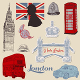 Set of London doodles - for design and scrapbook - hand drawn in