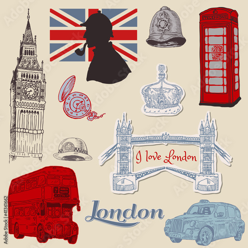 Foto op Aluminium Doodle Set of London doodles - for design and scrapbook - hand drawn in