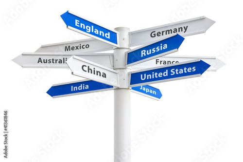 Crossroads Sign To Different Countries of the World