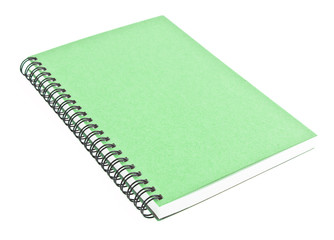 Green front cover notebook isolated on white background
