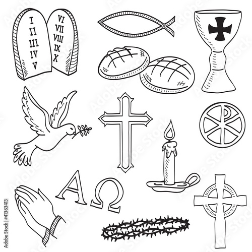 Christian hand-drawn symbols illustration