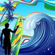 Surfista e Onda Oceano-Surfer and Ocean Wave-Vector