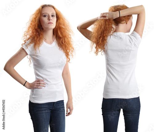 Pretty female wearing blank white shirt