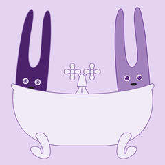 Two bunnies in bath